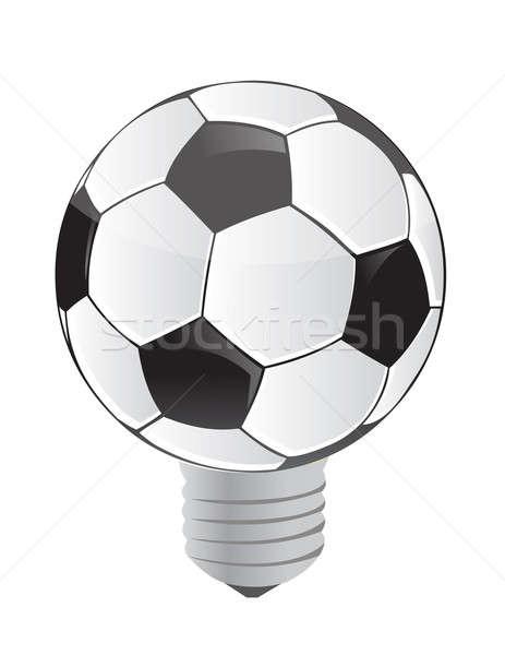 lightbulb soccer ball illustration design over a white backgroun Stock photo © alexmillos