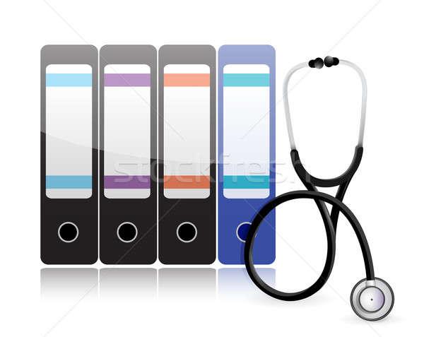 Medische geschiedenis bestanden stethoscoop illustratie ontwerp Stockfoto © alexmillos