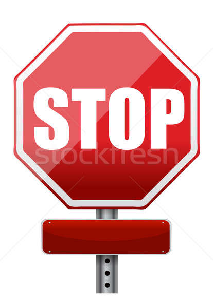 empty space on a stop sign illustration design over white Stock photo © alexmillos