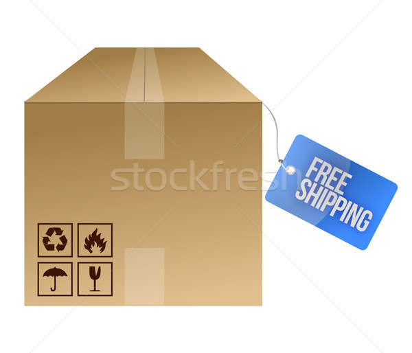 free shipping tag and box illustration design over white Stock photo © alexmillos