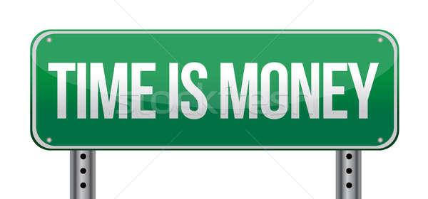 Время-деньги знак иллюстрация дизайна белый синий Сток-фото © alexmillos