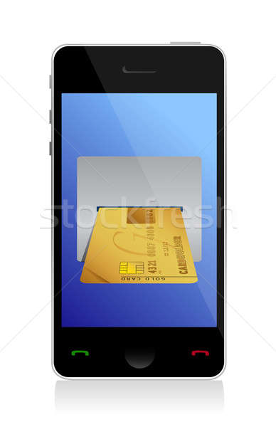 phone purchasing by credit cart illustration design over white Stock photo © alexmillos
