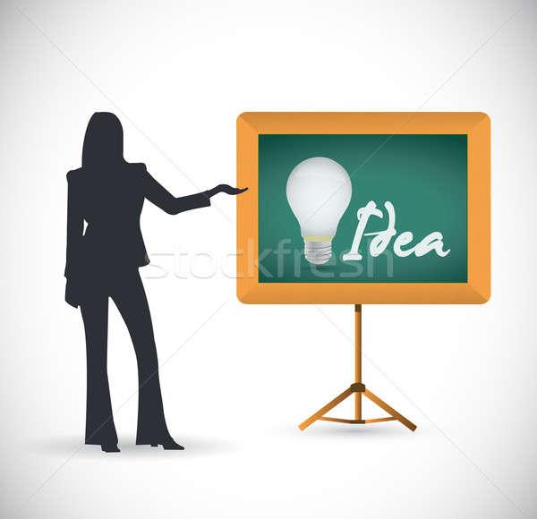 Idee presentatie illustratie ontwerp school lamp Stockfoto © alexmillos