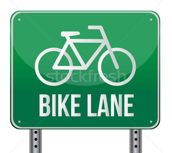 Bike lane sign illustration design  Stock photo © alexmillos