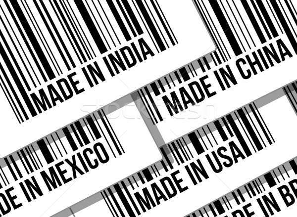 barcode, trade war, business concept illustration design over wh Stock photo © alexmillos