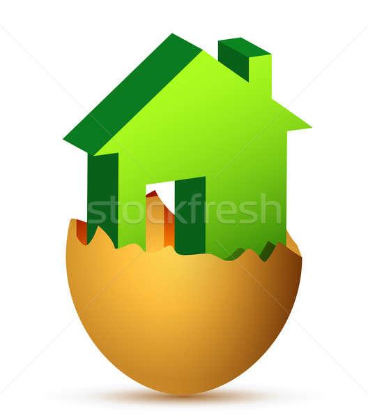 Conceptual house in an egg shell  Stock photo © alexmillos