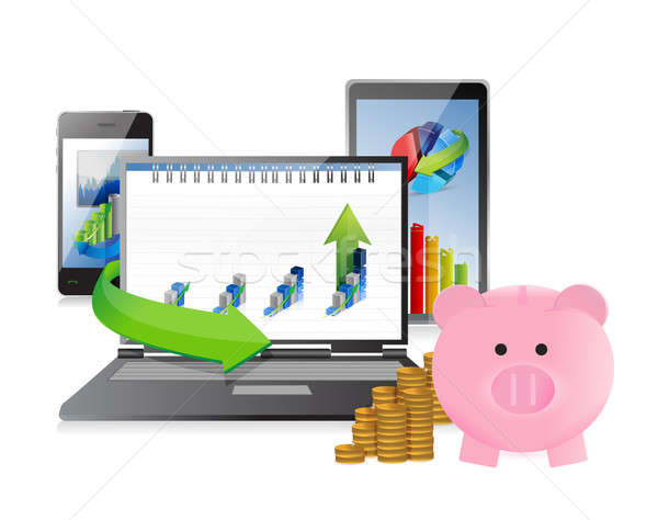 business technology concept illustration design over a white bac Stock photo © alexmillos
