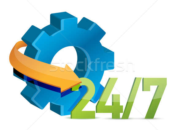 industry working 24 7 concept illustration design over white Stock photo © alexmillos