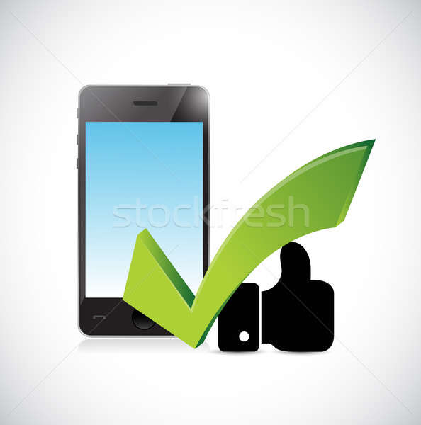 phone, approval sign and like hand concept Stock photo © alexmillos