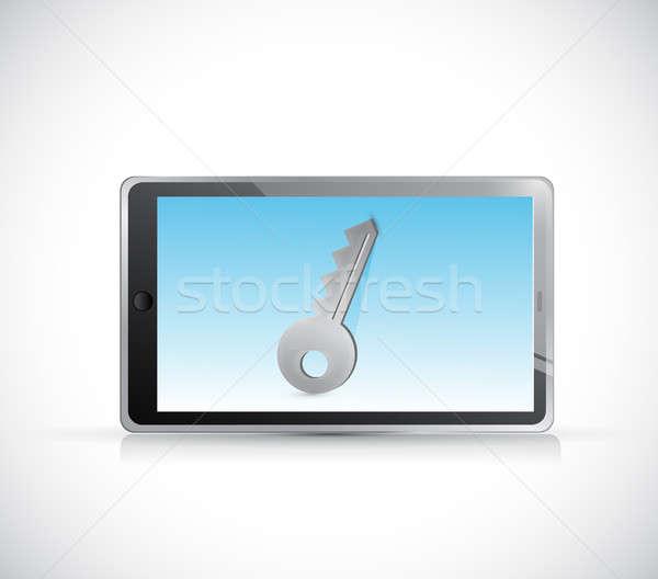 Tablet-Computer Schlüssel Privatsphäre Illustration isoliert weiß Stock foto © alexmillos