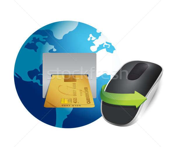 Uluslararası bankacılık kablosuz bilgisayar fare yalıtılmış beyaz Stok fotoğraf © alexmillos
