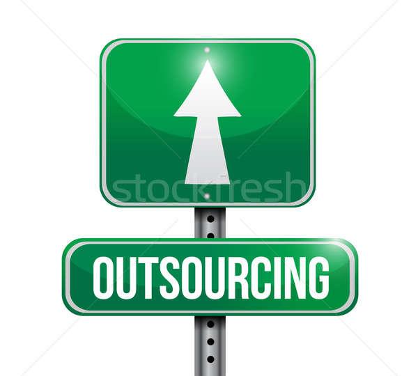 Stockfoto: Outsourcing · verkeersbord · illustratie · ontwerp · witte · netwerk