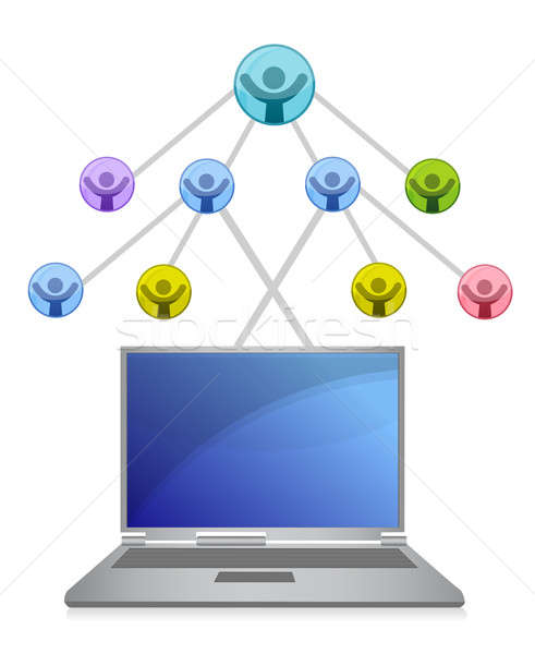 laptop and social network grid illustration over white Stock photo © alexmillos