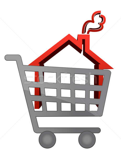 An illustration of a shopping cart trolley with house Stock photo © alexmillos
