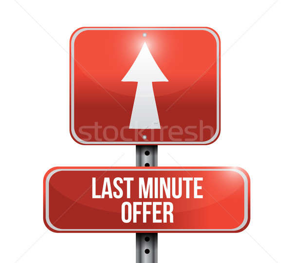 last minute offer road sign illustration design over a white bac Stock photo © alexmillos