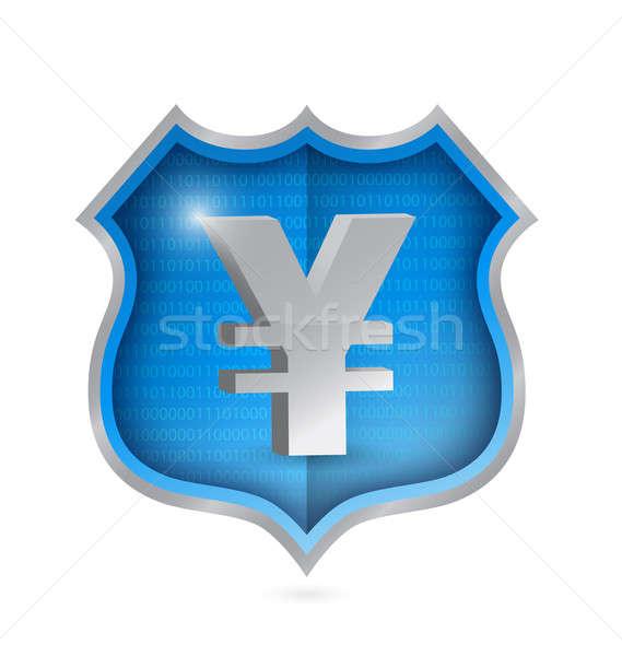 yen security shield illustration design over white Stock photo © alexmillos