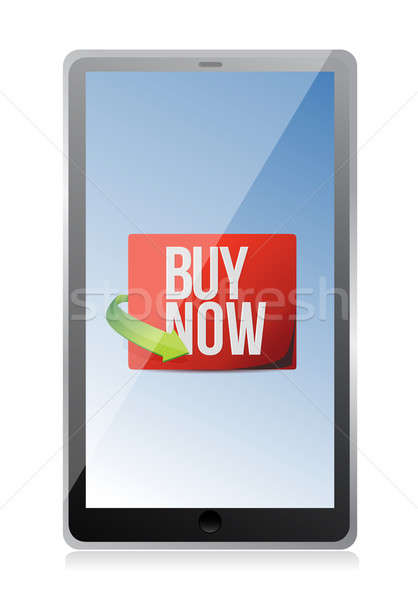 buy now sign on a tablet. illustration design over white Stock photo © alexmillos