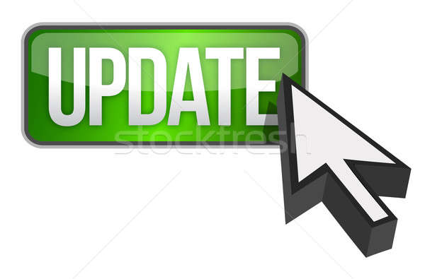 green update button and a cursor illustration design over white Stock photo © alexmillos