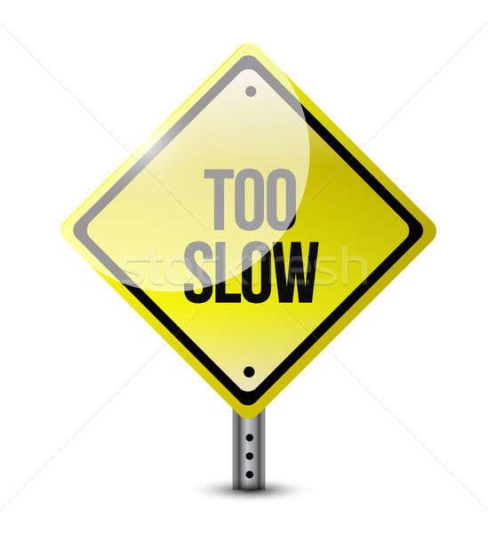 замедлять дорожный знак иллюстрация дизайна белый облака Сток-фото © alexmillos