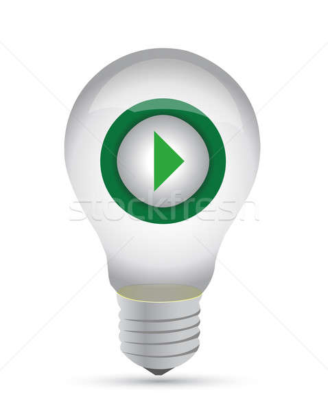 lightbulb with a play button inside - illustration design Stock photo © alexmillos