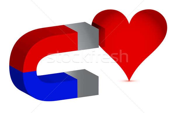 Magnete cuore illustrazione design bianco abstract Foto d'archivio © alexmillos