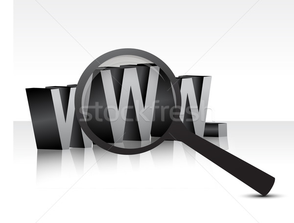 WWW over white background with a magnifier illustration design Stock photo © alexmillos