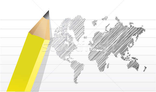 scribble world map illustration design over a notepad paper Stock photo © alexmillos