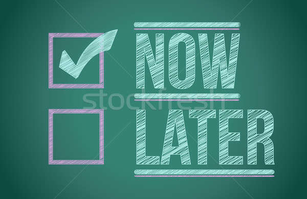 Now and Later check boxes on school chalkboard illustration desi Stock photo © alexmillos