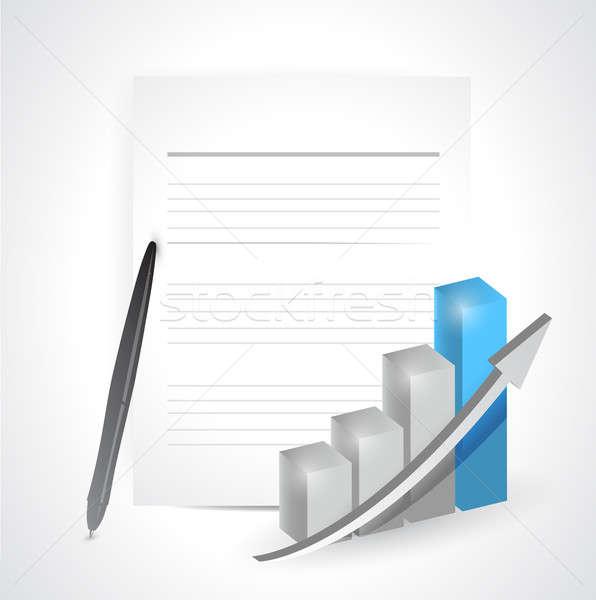 paper pencil and graph. illustration design over a white backgro Stock photo © alexmillos