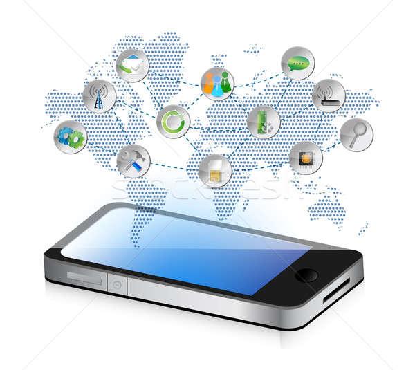 Social media smartphone illustratie ontwerp grafische business Stockfoto © alexmillos