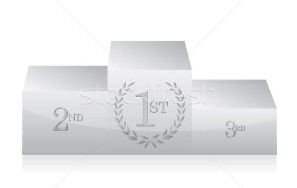 white clean podium illustration design over a white background Stock photo © alexmillos