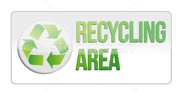 recycling area sign illustration design over white Stock photo © alexmillos