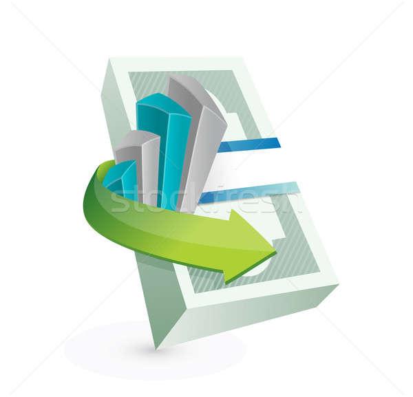 Stok fotoğraf: Para · grafik · örnek · dizayn · beyaz · merdiven