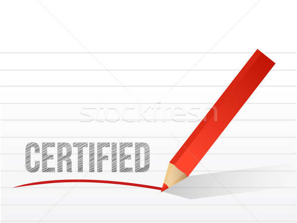 Word certified written on a white notepaper  Stock photo © alexmillos