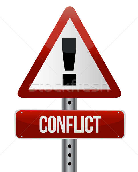 Conflict warning sign Stock photo © alexmillos