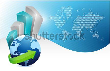 globe pierced with a dart. illustration design over white Stock photo © alexmillos