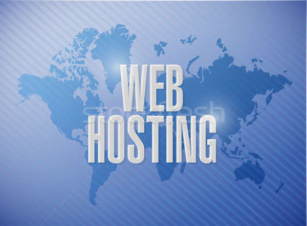 Web hosting world map sign concept Stock photo © alexmillos