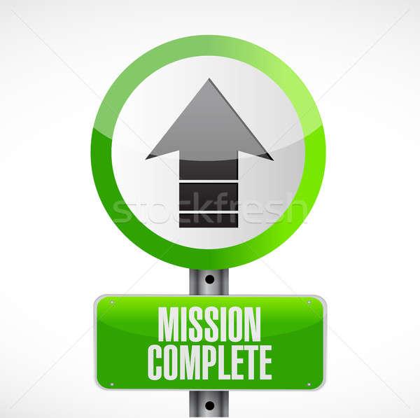 Missie compleet verkeersbord illustratie ontwerp grafische Stockfoto © alexmillos