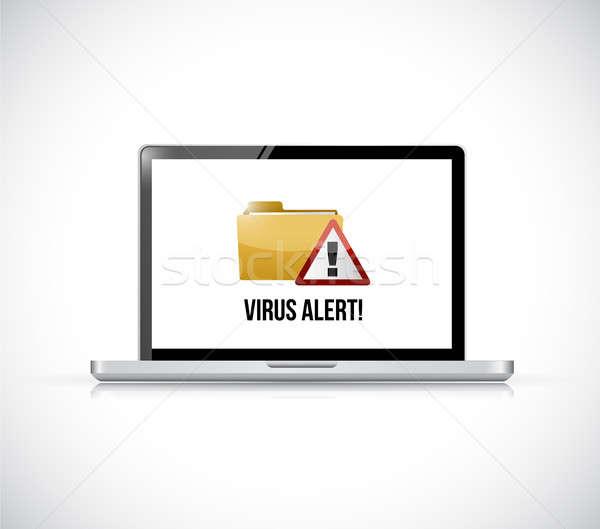 Stockfoto: Virus · alarm · map · computer · illustratie