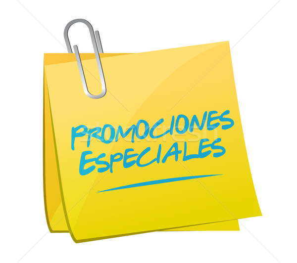 special promotions in Spanish memo sign concept Stock photo © alexmillos
