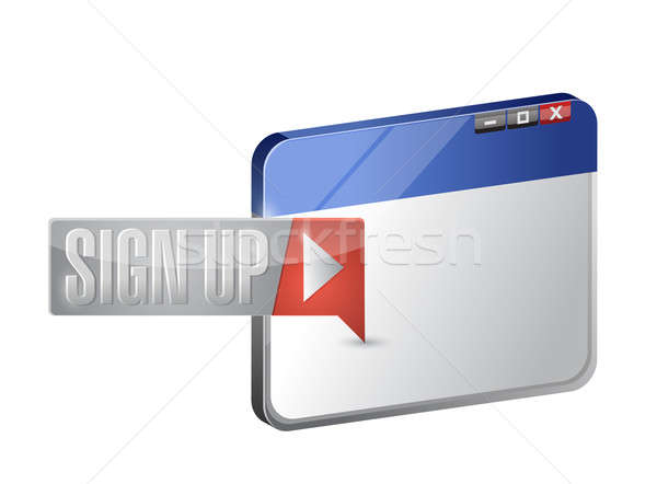 sign up now button and browser illustration Stock photo © alexmillos