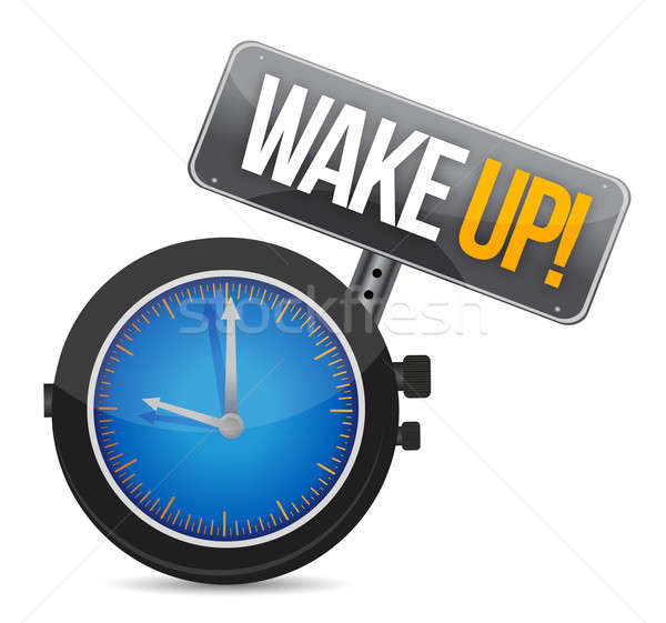 clock with the text wake up illustration Stock photo © alexmillos