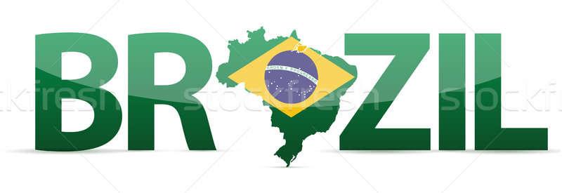 Brazylia Pokaż tekst banderą ilustracja Zdjęcia stock © alexmillos