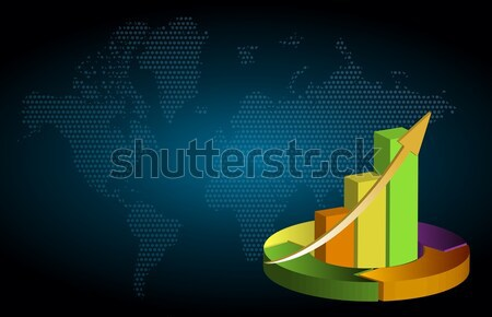 Global business growth bar graph background Stock photo © alexmillos