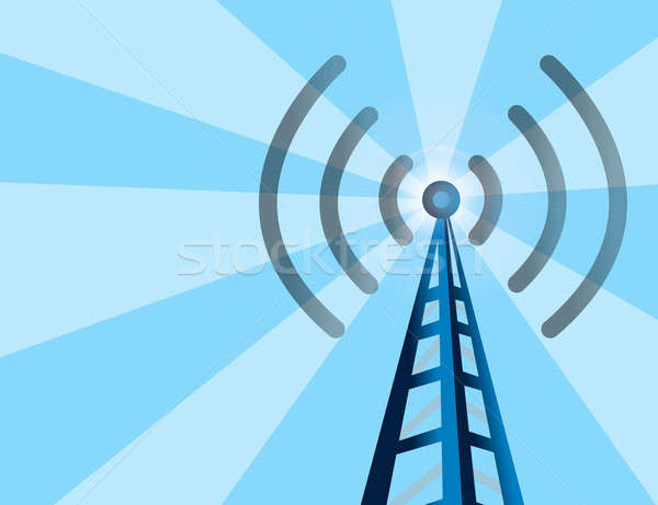 Stock photo: Blue wireless technology tower background with rays of light