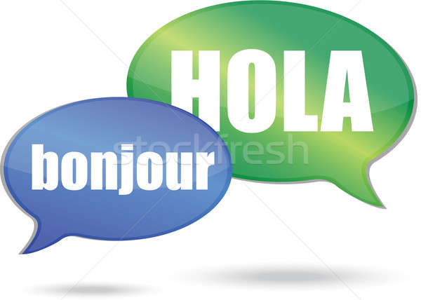 Bonjour and hola messages illustration design Stock photo © alexmillos