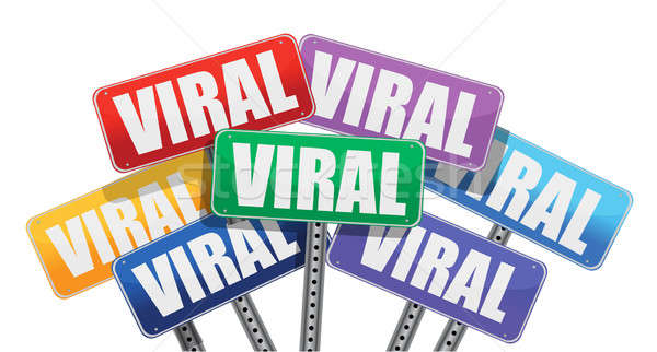 Viral marketing signes design blanche Photo stock © alexmillos