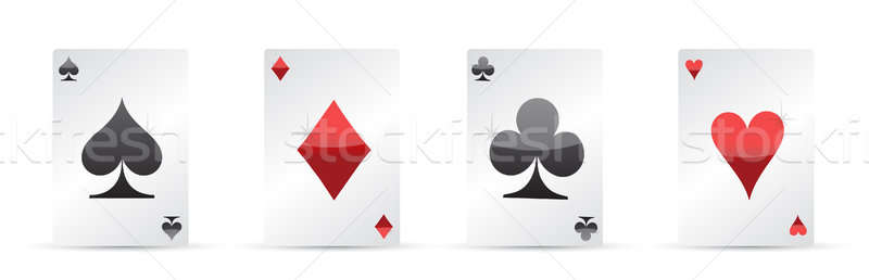 Playing cards. Four aces poker illustration design Stock photo © alexmillos