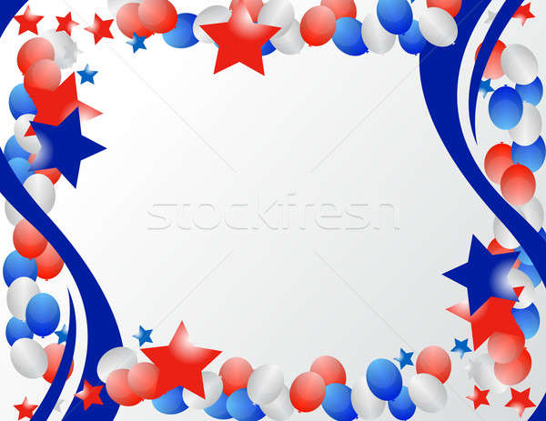 Stockfoto: Geïllustreerd · sterren · vaderlandslievend · frame · Blauw