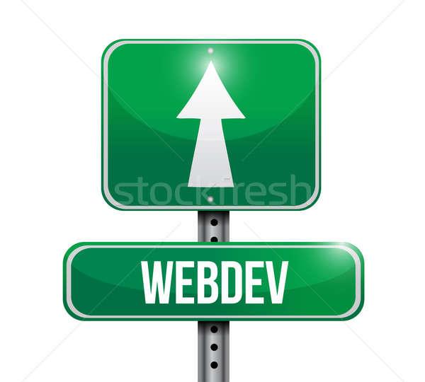 Yol işareti örnek beyaz imzalamak karayolu trafik Stok fotoğraf © alexmillos